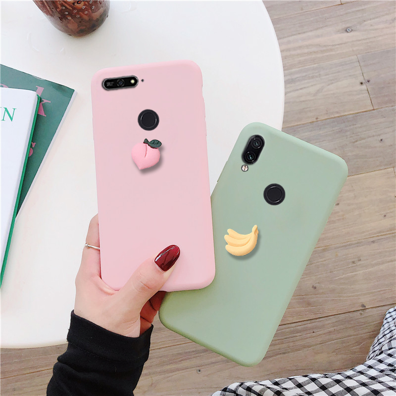 matte 3D cute fruit <font><b>case</b></font> for <font><b>huawei</b></font> y9 <font><b>y7</b></font> y6 y5 prime pro <font><b>2019</b></font> 2018 candy color funny soft tpu back <font><b>cover</b></font> fundas capa <font><b>coque</b></font> image