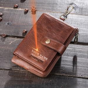 Image 2 - Contacts Vintage Key Wallets Genuine Leather Wallet Men Car Key Holder Housekeeper Hasp Design Coin Purse Zipper Keys Organizer