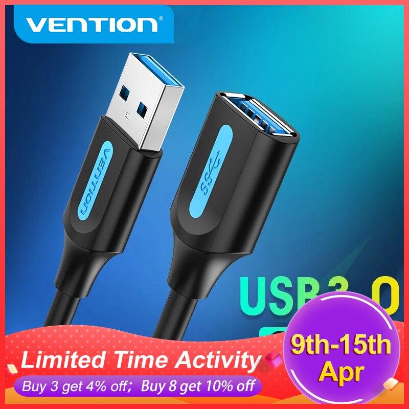 Vention USB Удлинительный Кабель USB 3,0 Мужской и Женский Кабель USB 3,0 2,0 удлинитель данных Шнур для Smart TV SSD PS4 USB кабель удлинитель