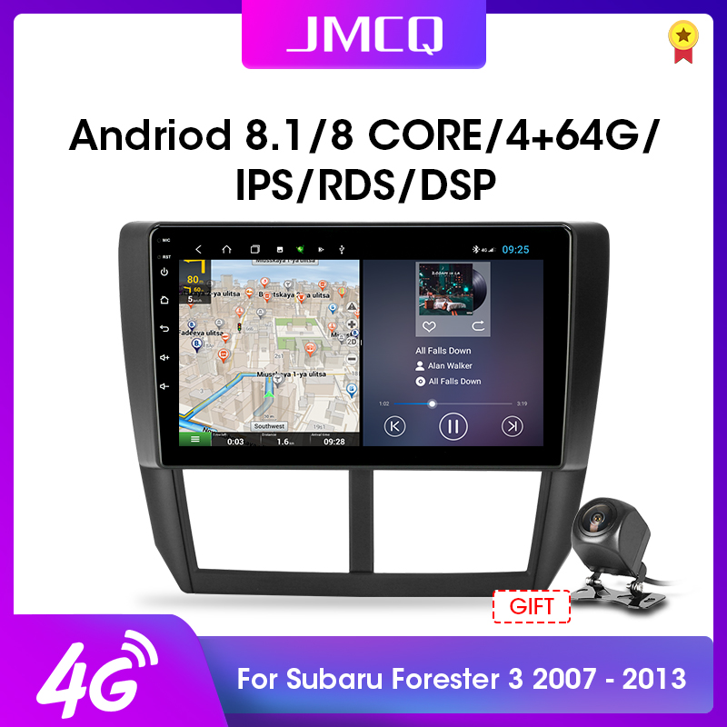 "JMCQ Android 8.1 2G+32G 4G+WiFi 9"" Car Radio Multimedia Video Player For 2008 2012 Subaru Forester 3 SH 2 din RDS DSP Head Unit