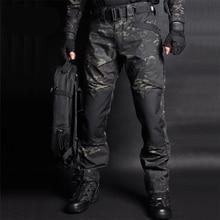 Мужские камуфляжные тактические брюки, повседневные армейские брюки-карго из водоотталкивающей ткани