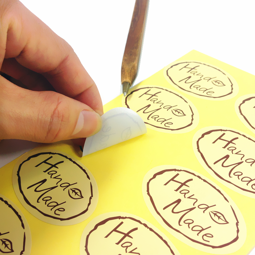 100pcs/lot Leaf Hand Made Seal Sticker High Quality Handmade Gift Label Sticker Students DIY Sticker For Diary Decoration
