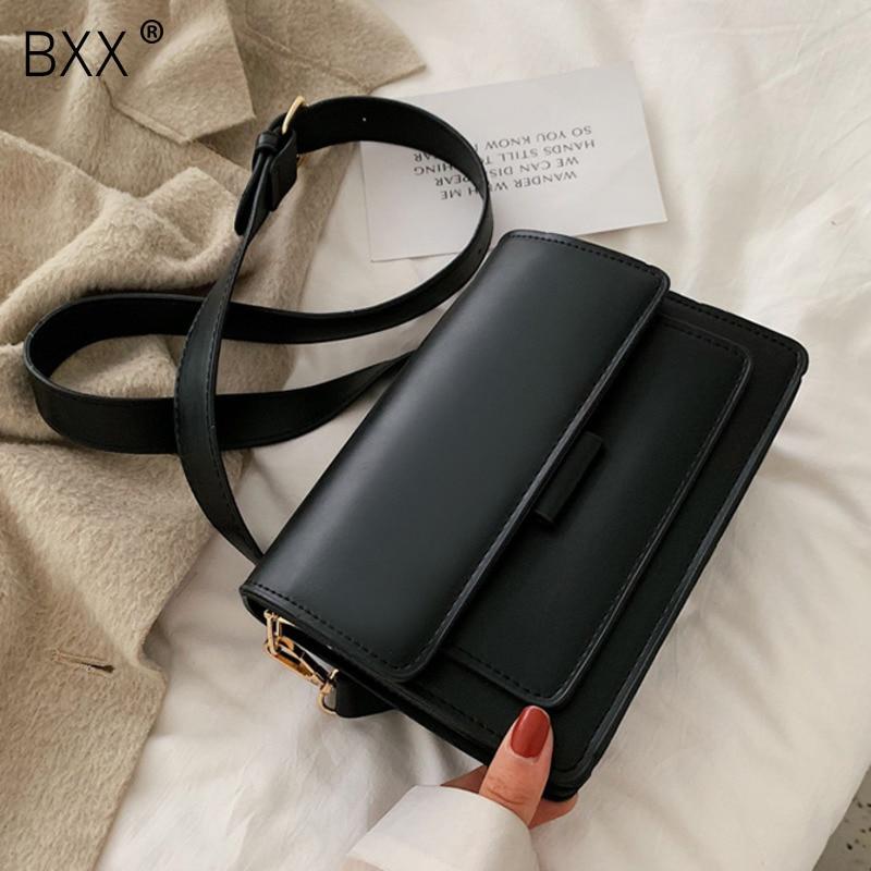 [BXX] Vintage PU Leather Bags For Women 2020 Spring Solid Color Shoulder Messenger Bag Female Shoulder Crossbody Handbags HL580