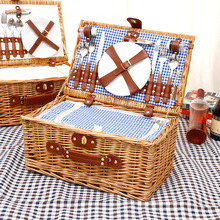 Country Style Wicker Picnic Basket Hamper Red Picnic Basket Set With Waterproof Picnic Blanket For Family Outdoor Camping Party