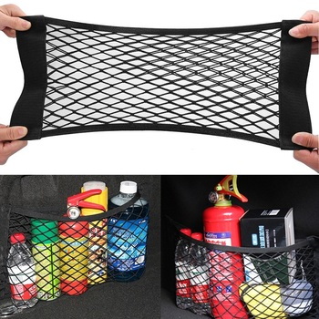 2-Layer Car Storage Net Universal Mesh Organizer Pouch Bag for Car Trunk 1Pcs Black Mesh Trunk Car Organizer Net Goods image