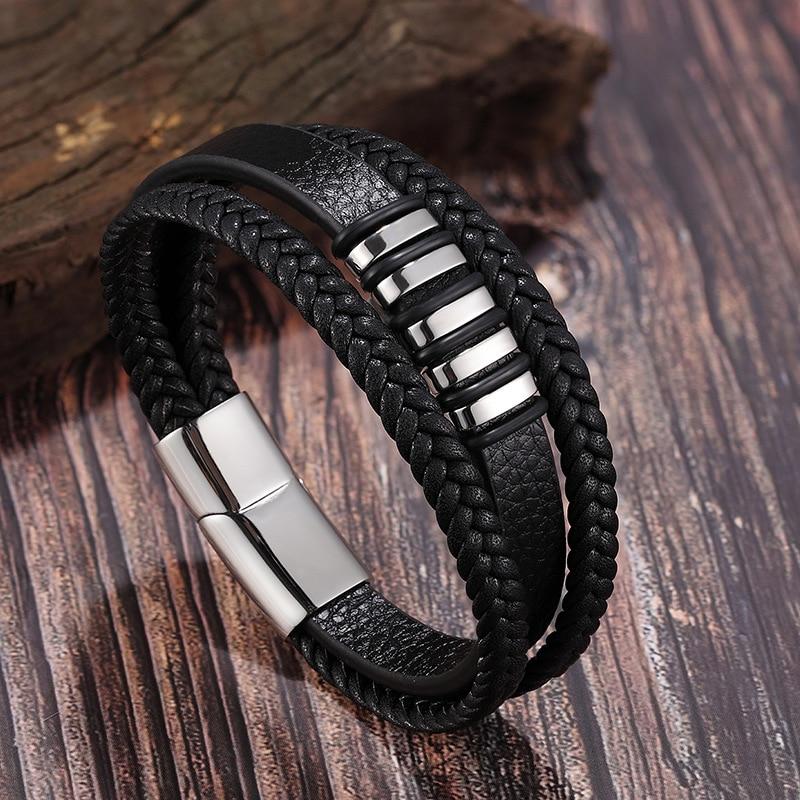 Fashion Stainless Steel Bracelet 3 Layers Black Gold Punk Style Men Leather Genuine Bracelet Men Braided Multilayer Bracelet Men