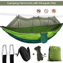 Portable Outdoor Camping Hammock 1-2 Person with Mosquito Net High Strength Parachute Fabric Hanging Bed Hunting Sleeping Swing