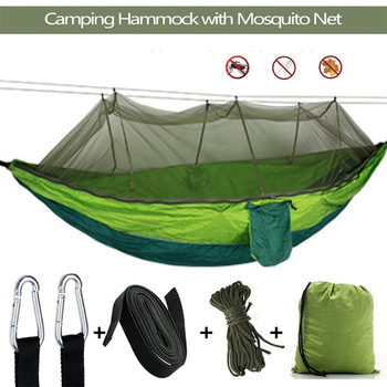 Portable Outdoor Camping Hammock 1-2 Person with Mosquito Net High Strength Parachute Fabric Hanging Bed Hunting Sleeping Swing super strength folding nylon hammock hanging swing hamak beach camping patio sleeping tree bed with 2 strap 2 carabiner