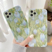 MANGEL AN Öl malerei Frische tulpen floral Fällen Für iPhone 12 11 Pro XR X XS Max 7 8 Plus SE2 nette Blume Weichen Silikon Telefon Abdeckung