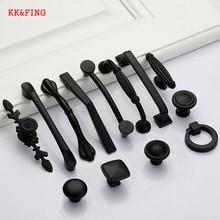 KK&FING Modern Black Cabinet Handles Solid Aluminum Alloy Kitchen Cupboard Pulls Drawer Knobs Furniture Handle Hardware