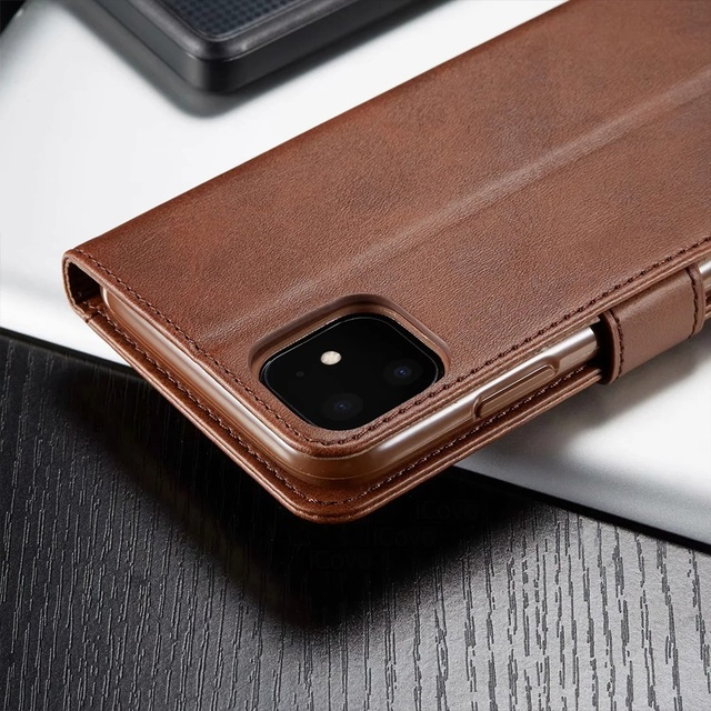 Leather Wallet Case for iPhone 12 Pro Max Mini 11 XS XR X SE 2020 8 7 6 6s Plus 5S 5 Luxury Flip Cover Coque Card Slots Magnetic 5