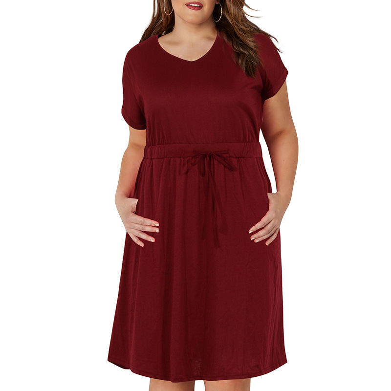 Big size 9XL Woman Summer dress Loose sexy solid plus size dresses women clothing 9xl party dress vestidos with pocket