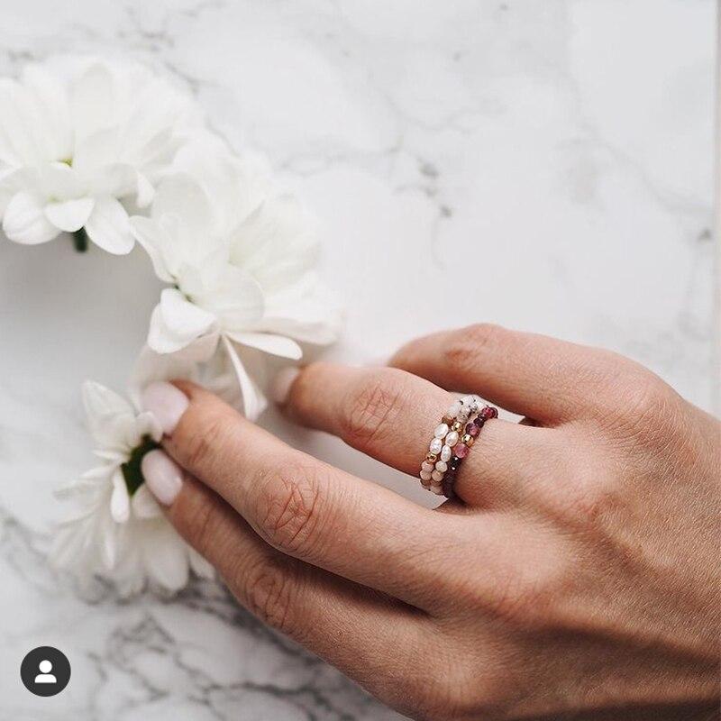 Momiji богемные кольца из бисера разные цвета ювелирные изделия из натурального камня подарки ручной работы женские обручальные кольца эласт...
