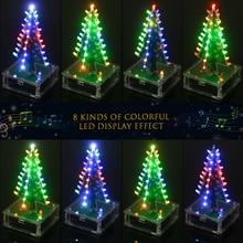 DIY Набор для рождественской елки, красочный легкий светодиодный светильник, Акриловая Рождественская елка с музыкальным электронным обучающим модулем