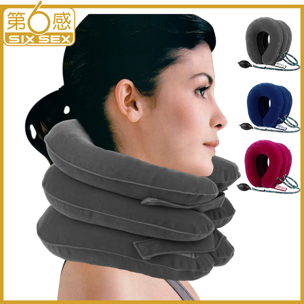 3 Layer Inflatable Air Cervical Neck Traction Device Brace Support Collar Vertebra Orthopedics Massage Relaxation For Pain Relie