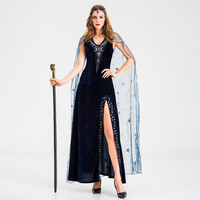 Women Halloween Cosplay Vintage Style Pharaoh Star Split Witch Dress Elegant Plus Size Dresses Woman Party Night
