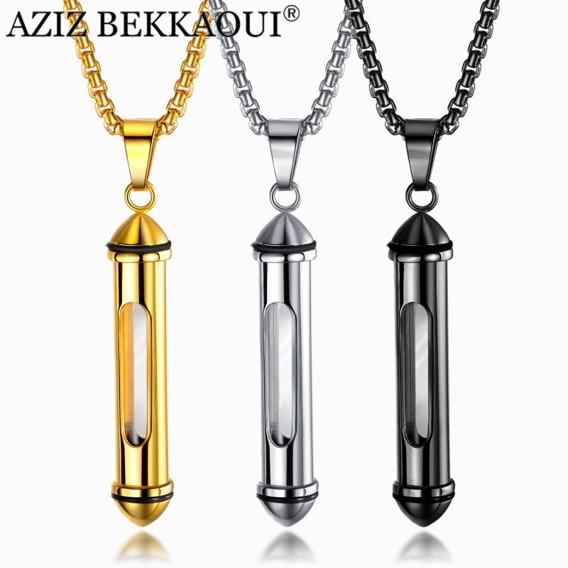 AZIZ BEKKAOUI Engrave Name Stainless Steel Men Necklaces Cremation Ash Urn Necklaces Can Be Open Memorial Cylinder Vial Pendant