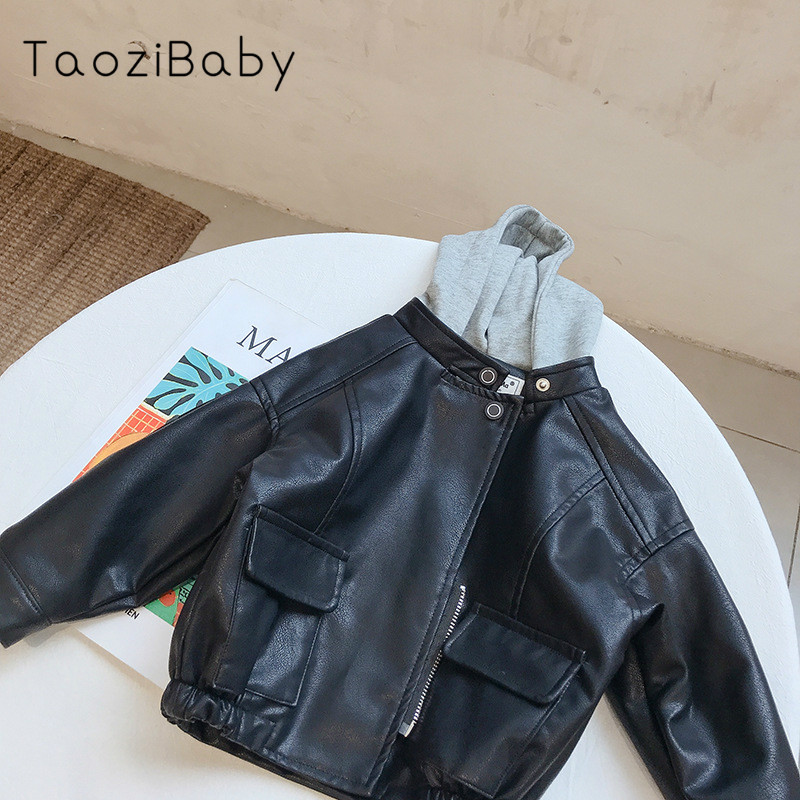 Fall Winter Kid Leather Garment Edition Children Clothing With Cap Simulated Leather Pu Leather Boy Jacket Coat