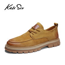 KATESEN 2019 Autumn New men shoes Men Martens Shoes Brogue Casual Genuine Leather Work Business