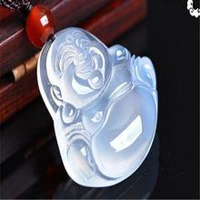 Натуральный китайский халцедон Будда ручной работы нефритовый