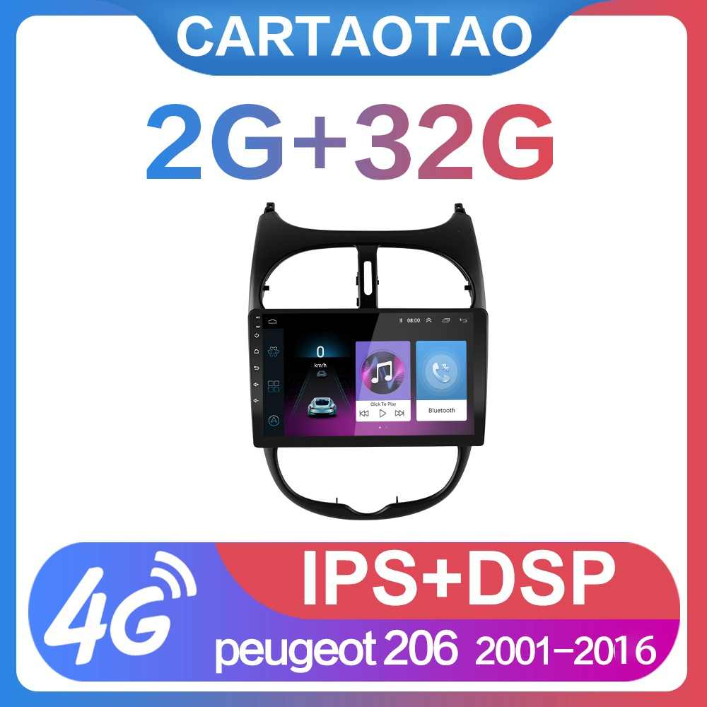 "2G + 32G 9 ""2din Android 8,1 GEHEN Auto DVD Player für Peugeot 206 2000-2016 auto Radio GPS Navigation WIFI IPS screen player"