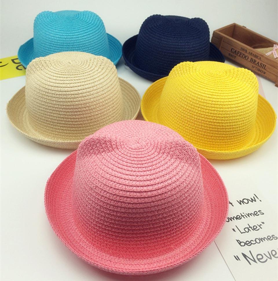 Милая шляпа с кошачьими ушками для мамы и ребенка, детские летние шапочки, детская соломенная шляпа, шапочка для родителей и детей, одноцвет...