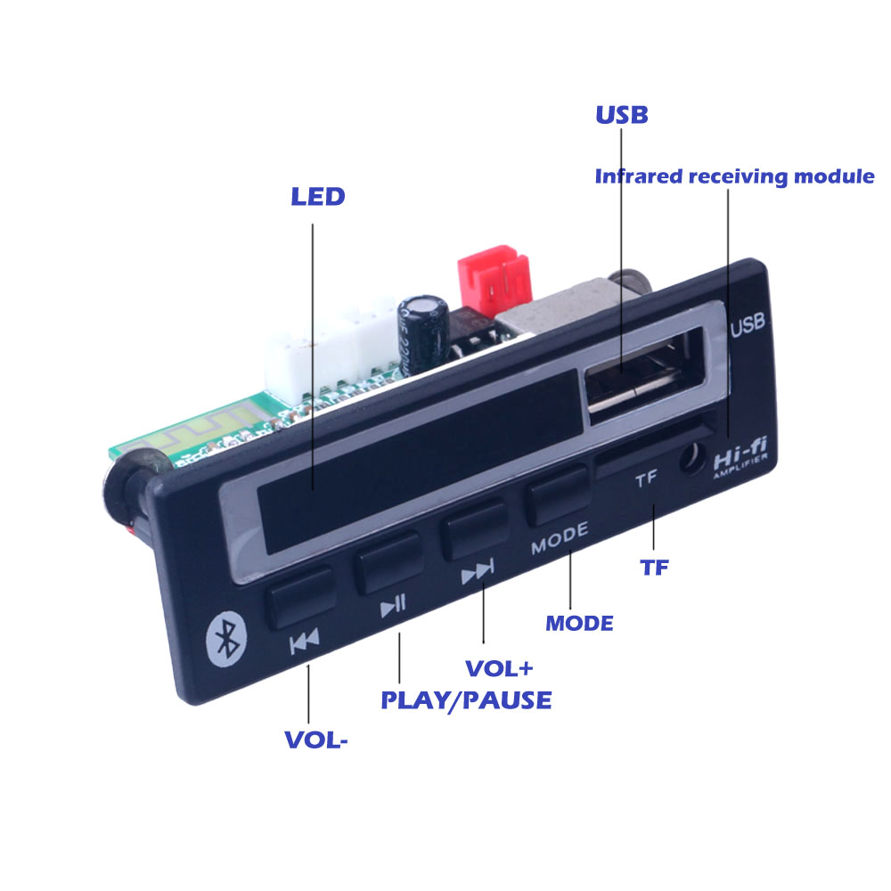Bluetooth MP3 decoder board MP3 card reader MP3 Bluetooth module audio accessories with FM radio(China)