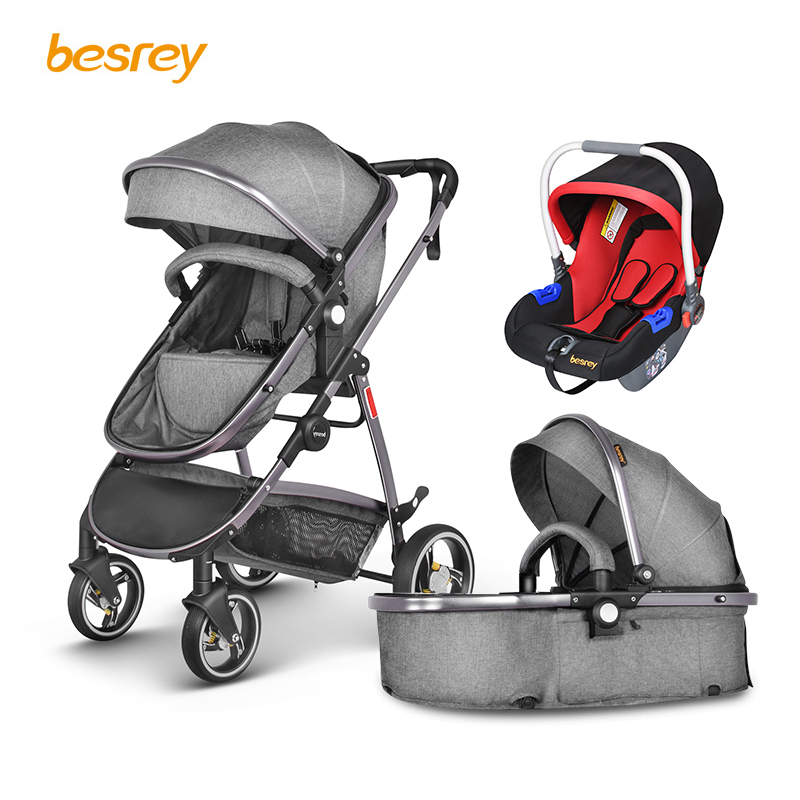 Besrey Baby Stroller 2 in 1 luxury for Newborn Baby Folding Stroller Toddler Carriage Infant Buggy