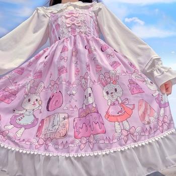2020 new lolita dress jsk original authentic bunny jam student cute full paragraph sweet lolita skirt daily kitten in garden series sweet lolita jsk dress by soufflesong