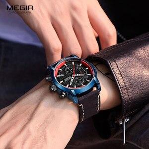 Image 4 - MEGIR montre bracelet de luxe chronographe en cuir pour hommes, marque supérieure, étanche, lumineuse de Sport militaire, horloge 2104