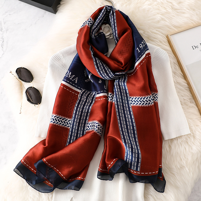 Luxury Chain Scarf Women Print Pashmina Silk Shawls And Wraps Horse Foulard Lady Beach Scarves Spring Warm Bufanda