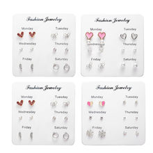 One Week Earring Set Fashion Simple Crystal Heart Stud Earrings For Women 6 Pairs/set Mini Brincos Valentines Day Gift