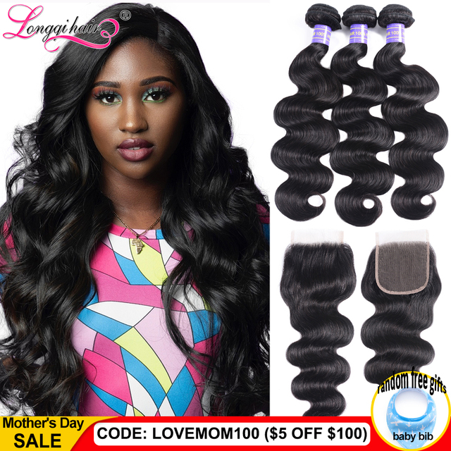 $ US $56.54 Long Lasting Body Wave Bundles With Closure Brazilian Hair Weave Bundles With Closure Remy Hair Closure with Bundles Longqi Hair