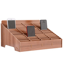 Caja de almacenamiento para teléfonos móvil de madera cuadrícula múltiple, soporte creativo para escritorio, organizador, oficina, hogar, ahorro de espacio, artefacto, 12/14/24/30/45