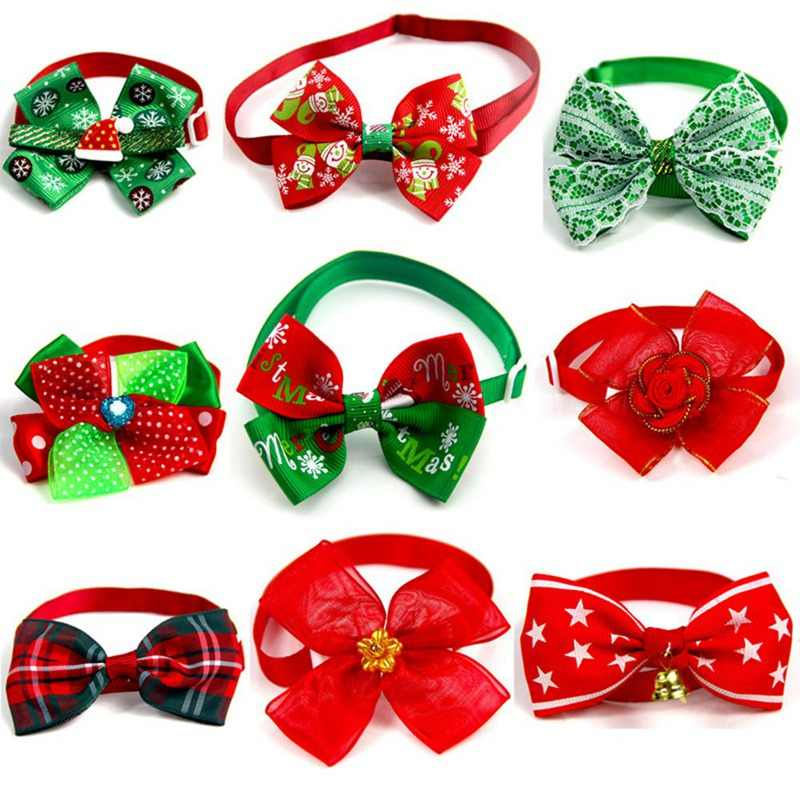 Adjustable Pet Dog Cat Bow Ties Pet Toys Accessories Grooming Bowknot Collar Pet Dog Accessories Christmas Party Sullpies