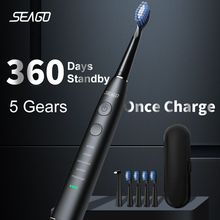 SEAGO فرشاة أسنان كهربائية بالموجات الصوتية ترقية الكبار مقاوم للماء USB قابلة للشحن 360 أيام طويلة وقت الانتظار مع 5 فرشاة رئيس أفضل هدية
