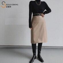 Women Skirt Female Elegant Feminine Designer A-Line PuSoft Fake Leather Side Pockets Back Zipper Belt Loop Mid-Calf Solid Fall