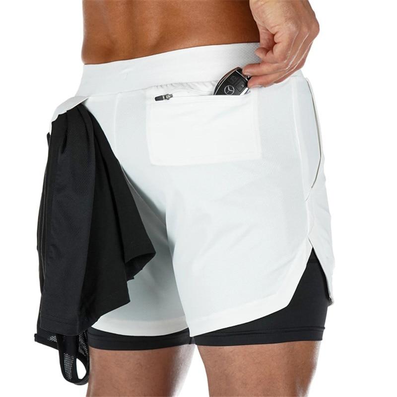 2 pièces 2020 nouveau Sport Shorts hommes Double pont Jogging course Shorts hommes 2 en 1 hommes gymnase court Fitness entraînement court pantalon homme