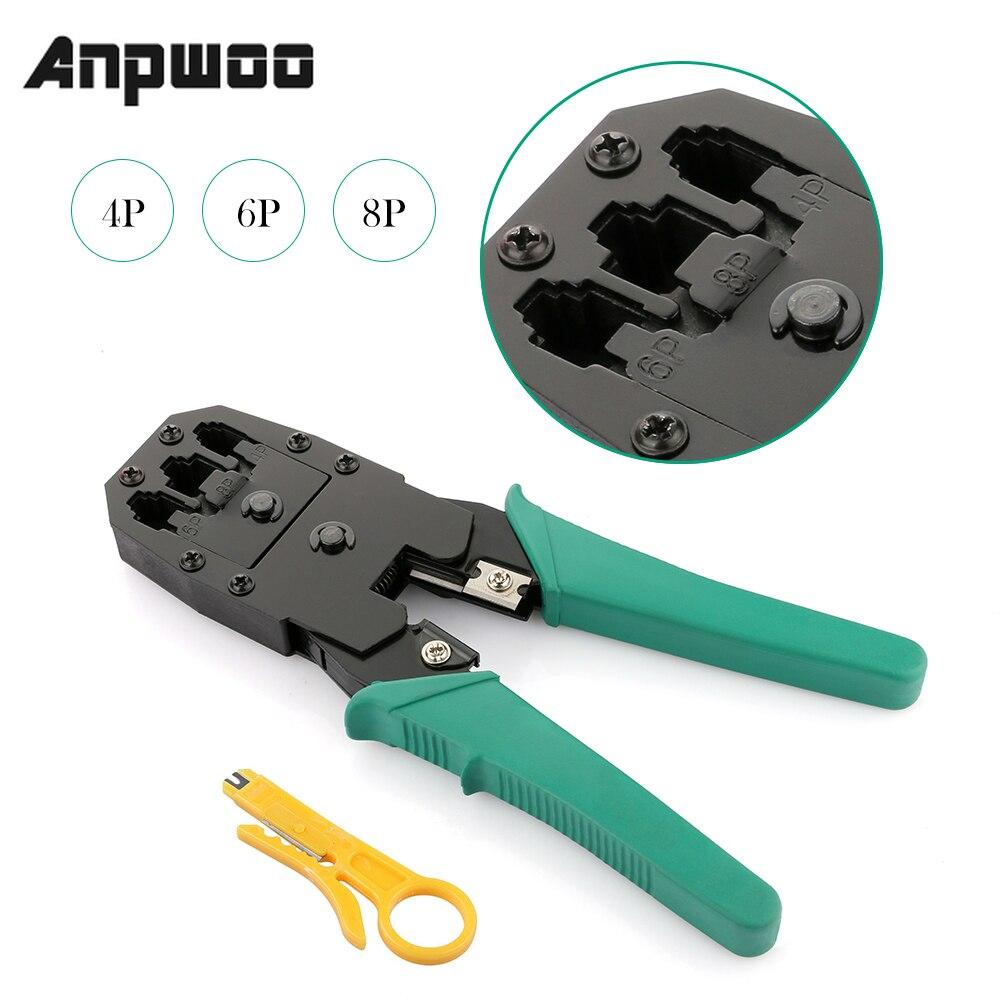 Anpwoo kit de ferramentas cortadoras, cabo de rede ethernet portátil, kits de ferramentas de corte, descascador de friso rj45 rj12 rj11 cat5 cat6 8p/6p/4p