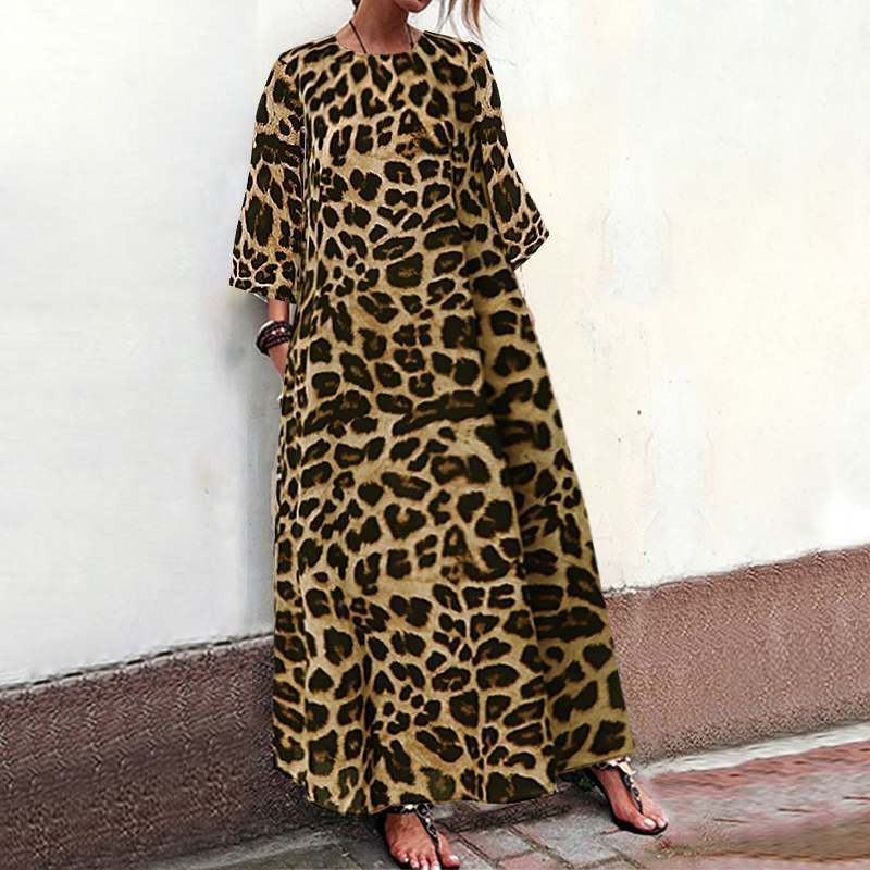 Celmia 2019 Fashion Women Leopard Print Maxi Long Dress Casual Beach Party Dress Loose Vintage Holiday Vestidos Plus Size S-5XL