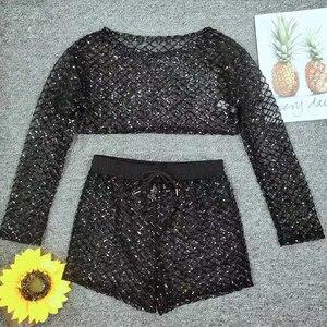 Image 5 - أسود شفاف أربع قطع مجموعة البكيني الترتر ملابس النساء 2020 لامعة ملابس الشاطئ مثير ملابس السباحة الإناث سلسلة ضمادة biquini