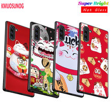 Black Silicone Cover Maneki Neko Lucky Money cat for Samsung Galaxy Note 10PLus 10 9 8 S10 5G S9 S8 Plus S7 S6 Phone Case(China)