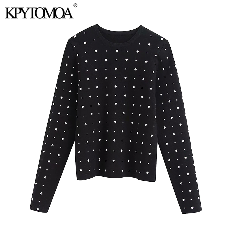 KPYTOMOA Women 2020 Fashion Stud Appliques Cropped Knitted Sweater Vintage O Neck Long Sleeve Female Pullovers Chic Tops