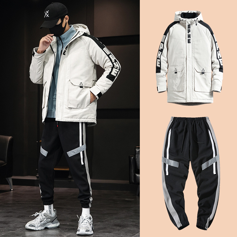 Winter Jacket Men+Cargo Pants Suits Fashion Streetwear Hoodies Tracksuit Coat Casual Korean Two-Piece Thicken Jogging Sets New