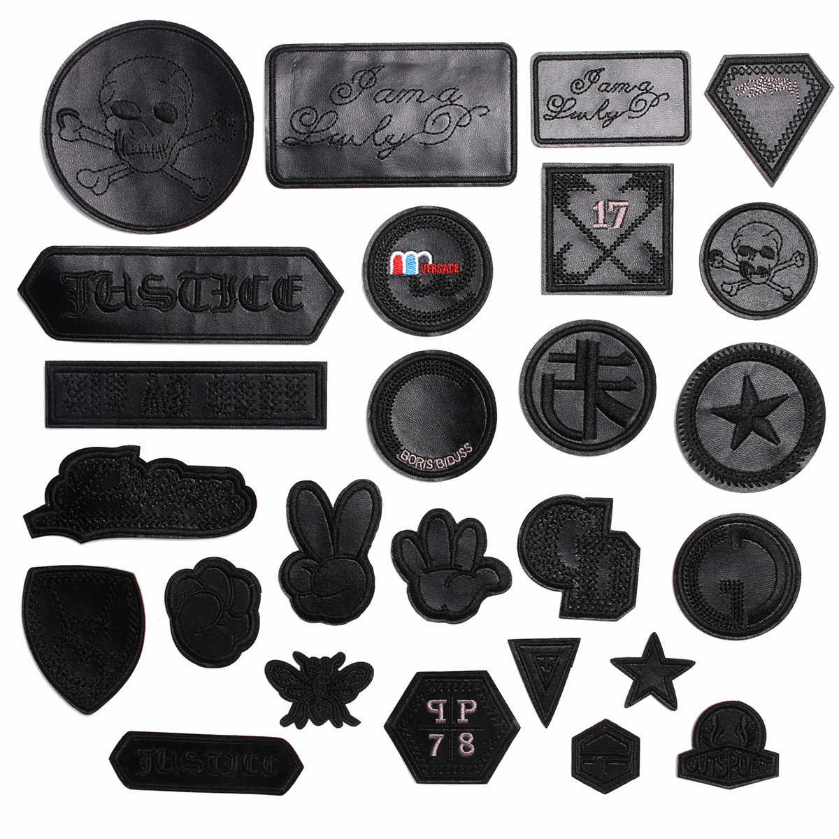 Rond noir blanc fer sur cuir 3D crâne Badge pour vêtements sacs jean broderie autocollant personnalisé pour vêtements vêtement patchs
