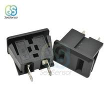5 pces ac 15a 125 v 2 pinos eua plug montagem em painel eua tomada de energia preto