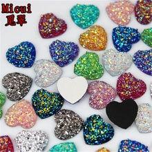 Micui 80 sztuk 12mm brokat AB kolor serca żywica Rhinestone mineralne powierzchni Cabochon mieszkanie powrót kamień bez mocowania na gorąco DIY dekoracji MC50