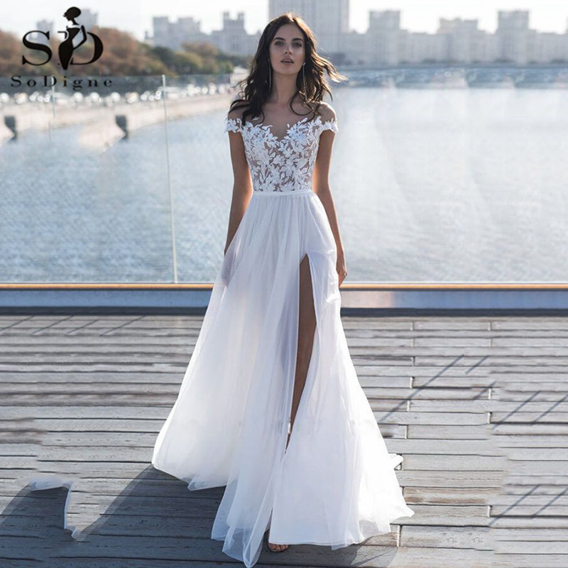 Front Slit Appliques Wedding Dresses 2019 Off The Shoulder A Line Chiffon Bride Dress Free Shipping Wedding Gown Robe De Mariee