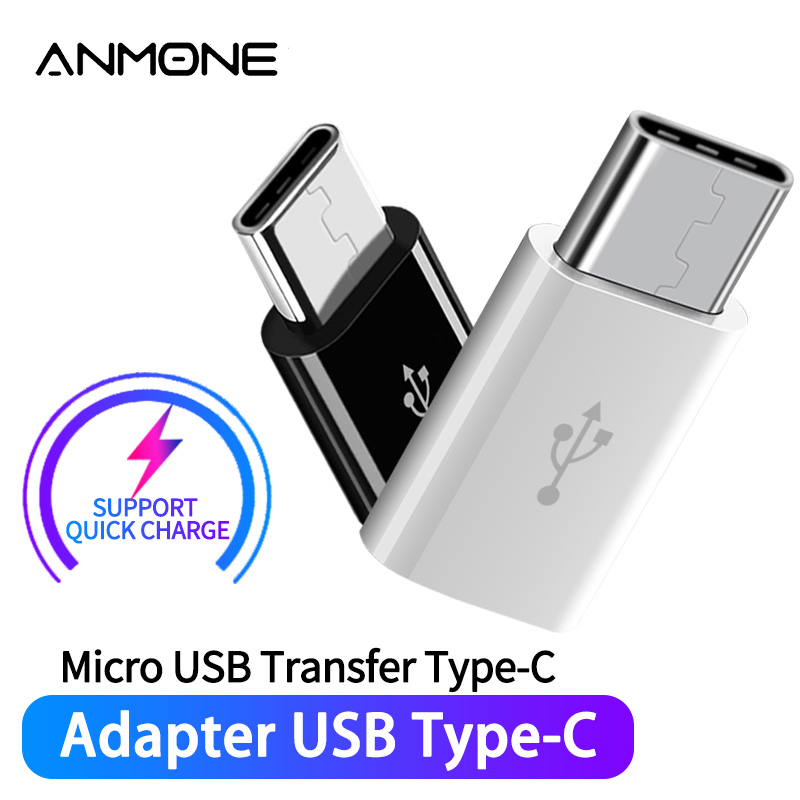 ANMONE <font><b>Adapter</b></font> Micro USB Female to <font><b>USBC</b></font> Male Converter For Huawei Mate 20 Pro P20 P30 <font><b>Xiaomi</b></font> Samsung Micro Usb To Type-C Charger image