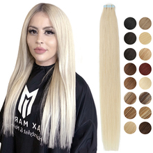 MRSHAIR Natural Hair Extensions Tape in Human Hair Extensions Invisible Skin Weft Tape Extensions Straight Blonde 20pcs NonRemy